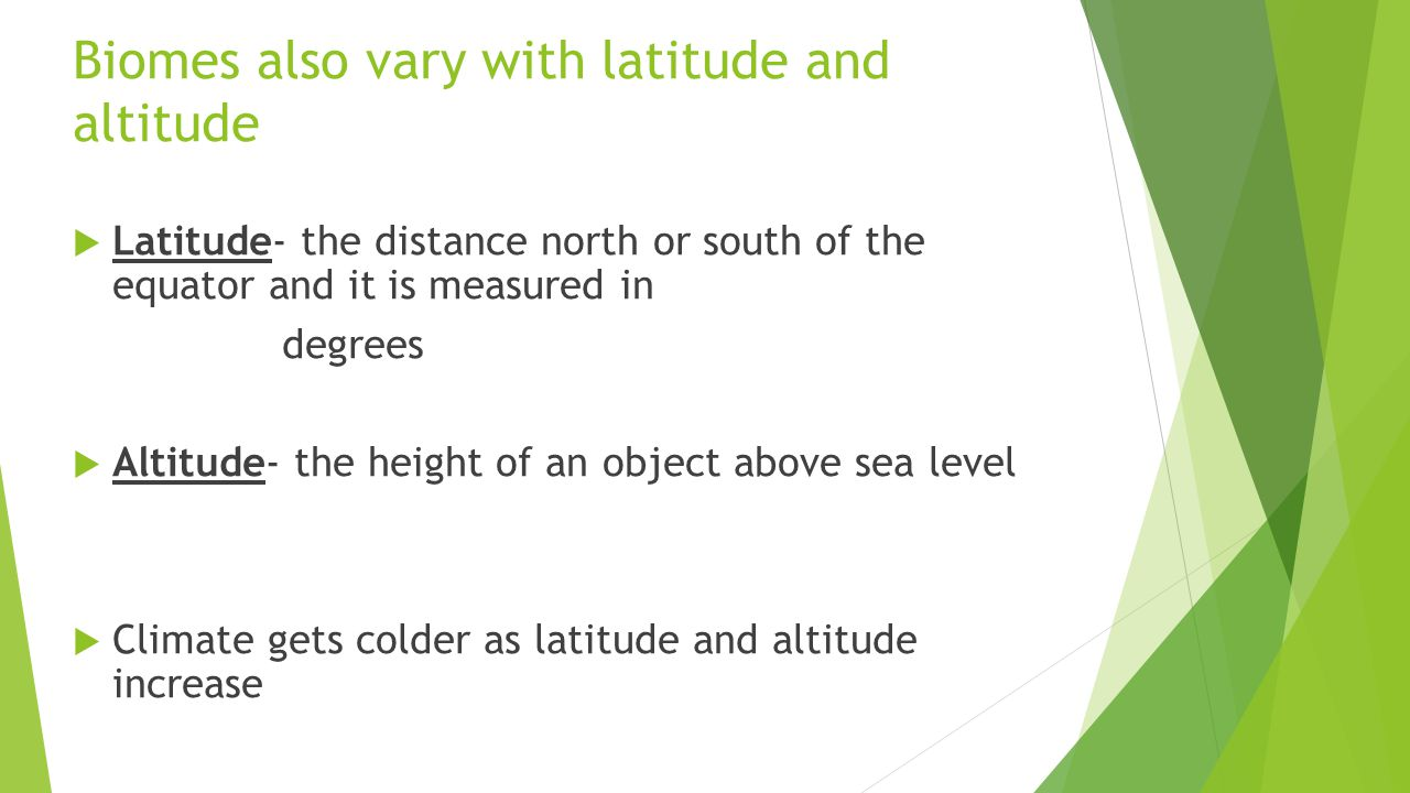 Biomes also vary with latitude and altitude