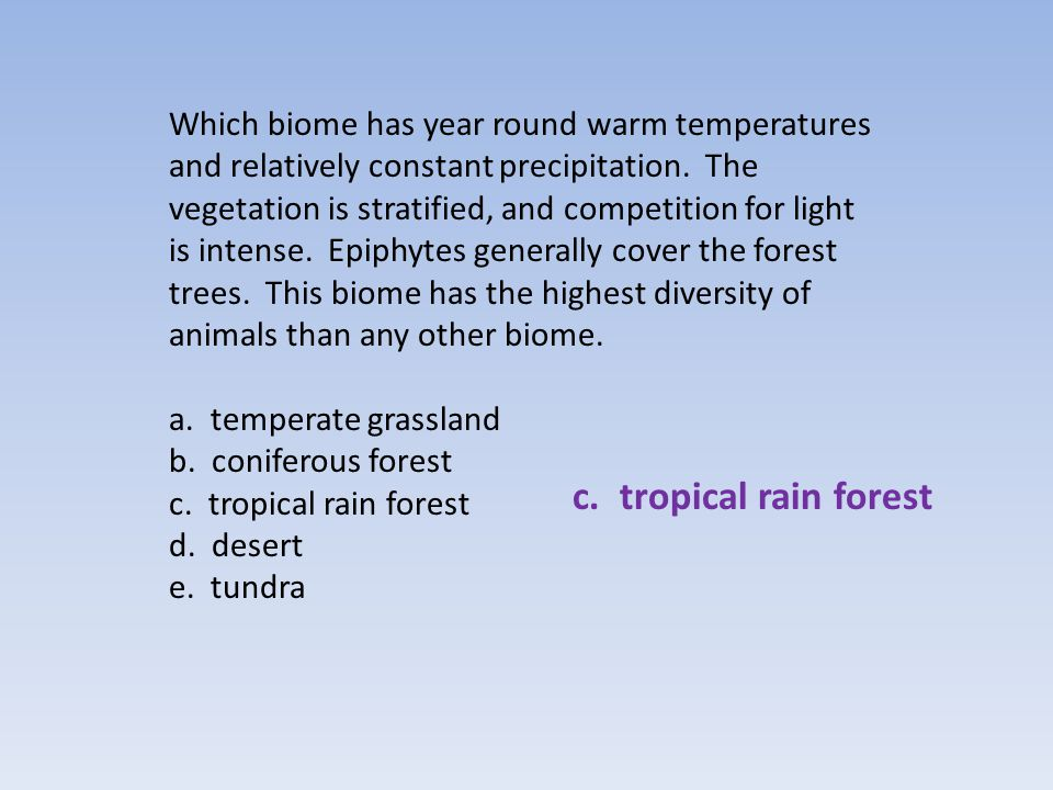 Which biome has year round warm temperatures and relatively constant precipitation. The vegetation is stratified, and competition for light is intense. Epiphytes generally cover the forest trees. This biome has the highest diversity of animals than any other biome.