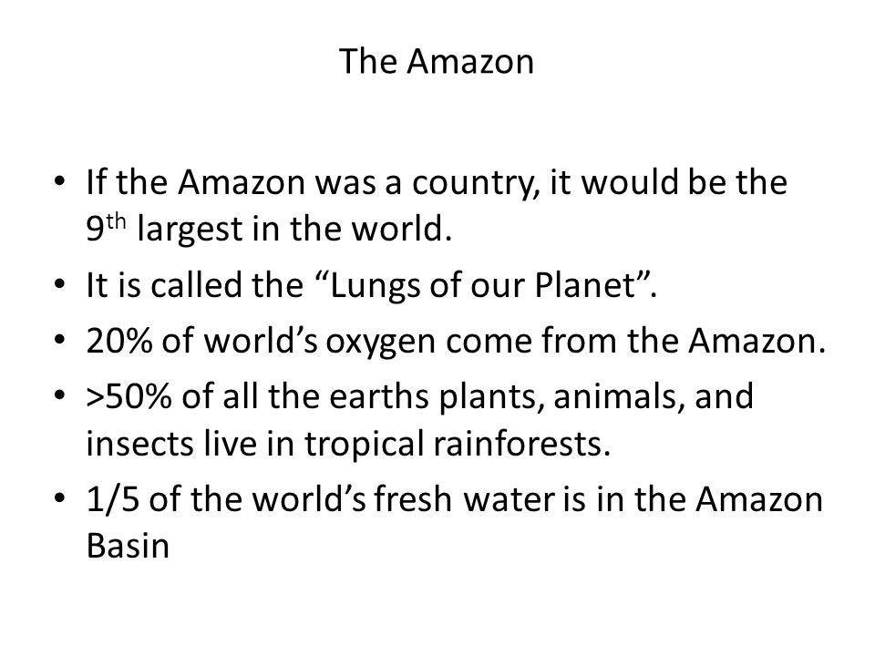 The Amazon If the Amazon was a country, it would be the 9th largest in the world. It is called the Lungs of our Planet .
