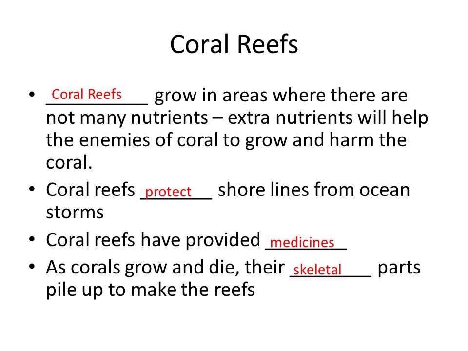 Coral Reefs __________ grow in areas where there are not many nutrients – extra nutrients will help the enemies of coral to grow and harm the coral.