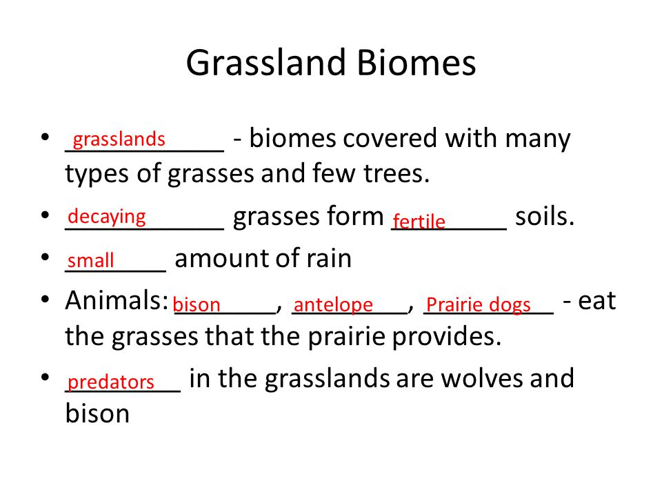 Grassland Biomes ___________ - biomes covered with many types of grasses and few trees. ___________ grasses form ________ soils.