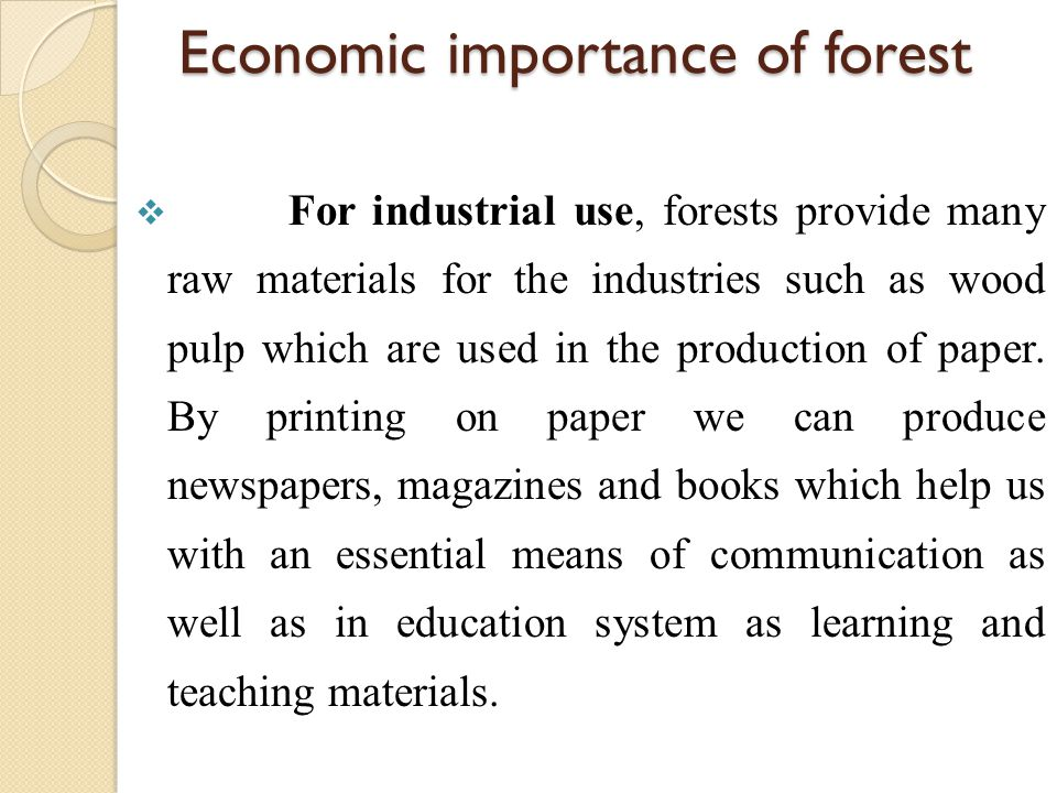 Economic importance of forest