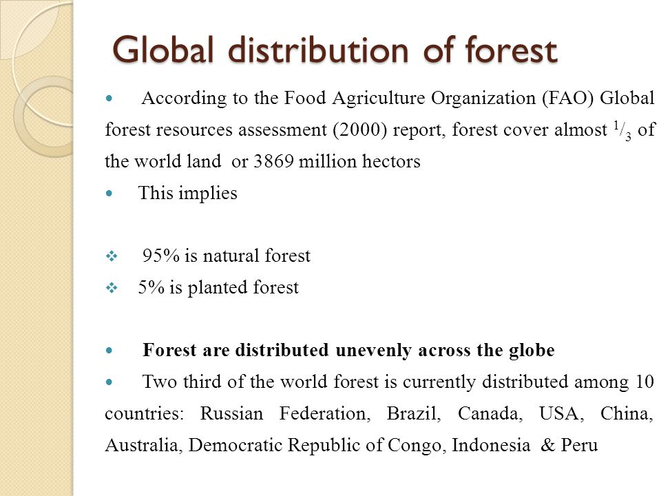 Global distribution of forest