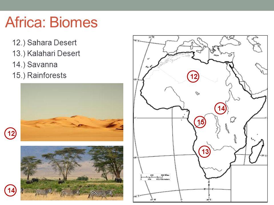 Africa: Biomes 12.) Sahara Desert 13.) Kalahari Desert 14.) Savanna 15.) Rainforests 12. 14. 15.