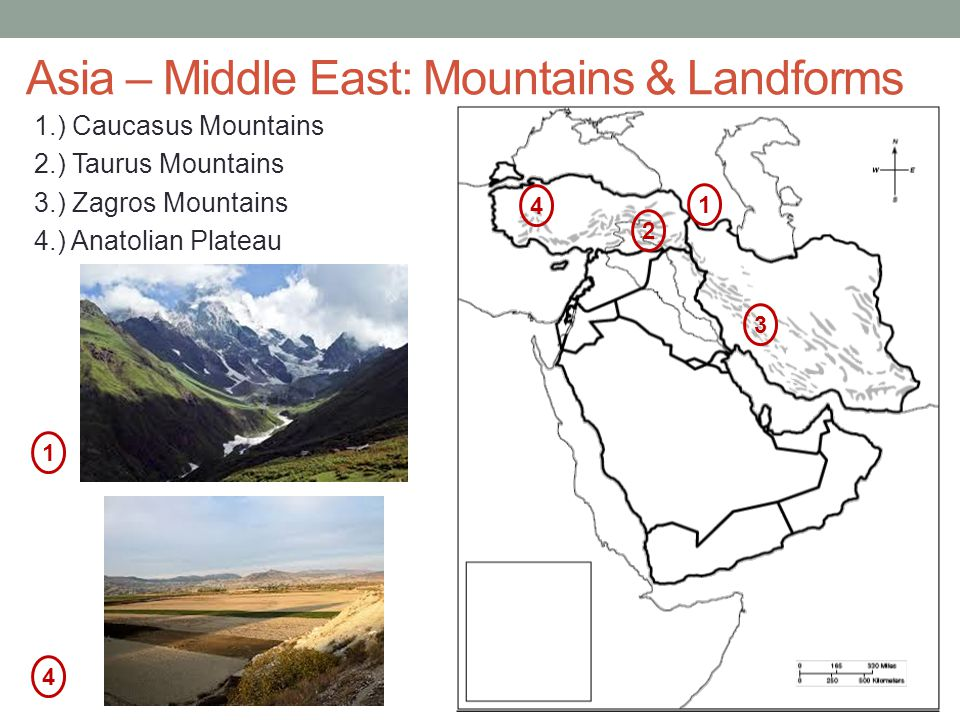 Asia – Middle East: Mountains & Landforms