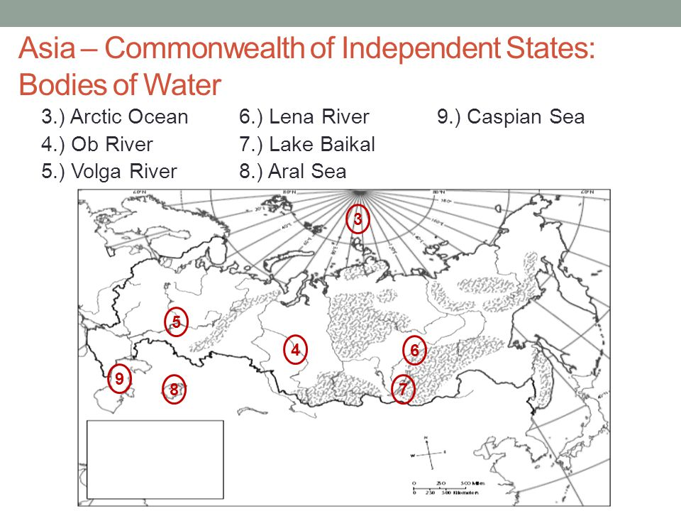 Asia – Commonwealth of Independent States: Bodies of Water