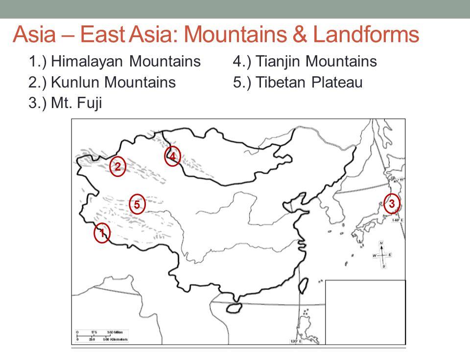 Asia – East Asia: Mountains & Landforms