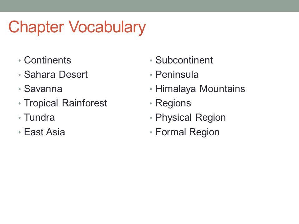 Chapter Vocabulary Continents Subcontinent Sahara Desert Peninsula