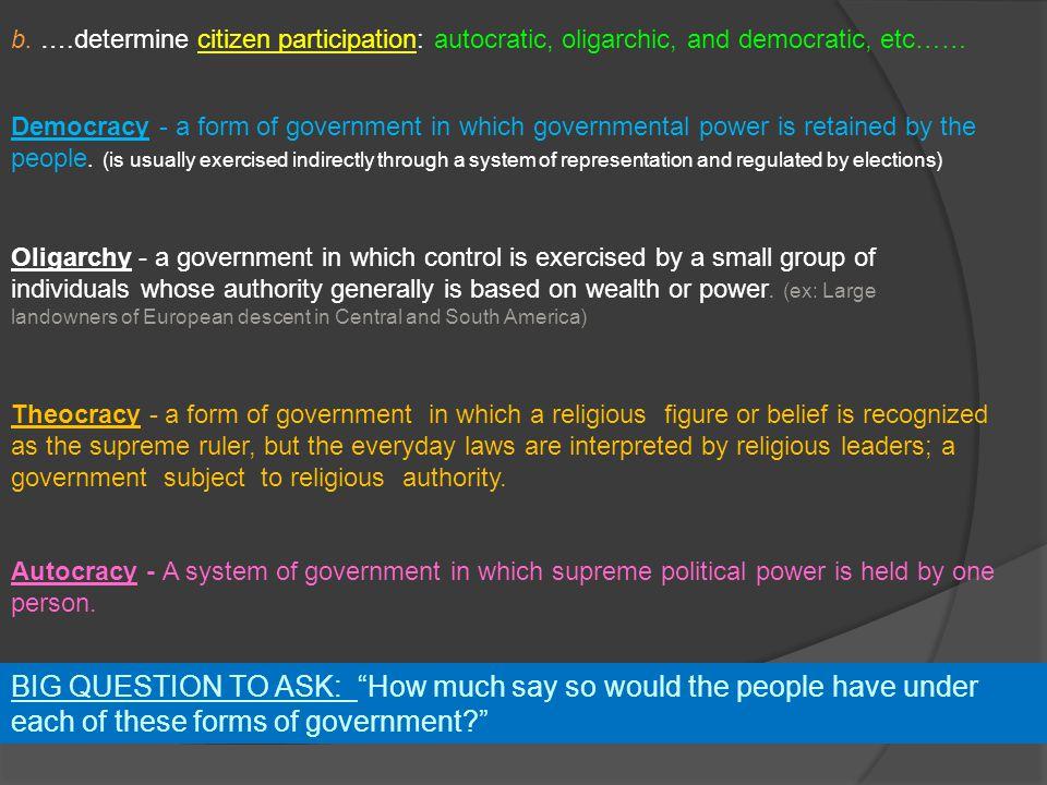 b. ….determine citizen participation: autocratic, oligarchic, and democratic, etc……