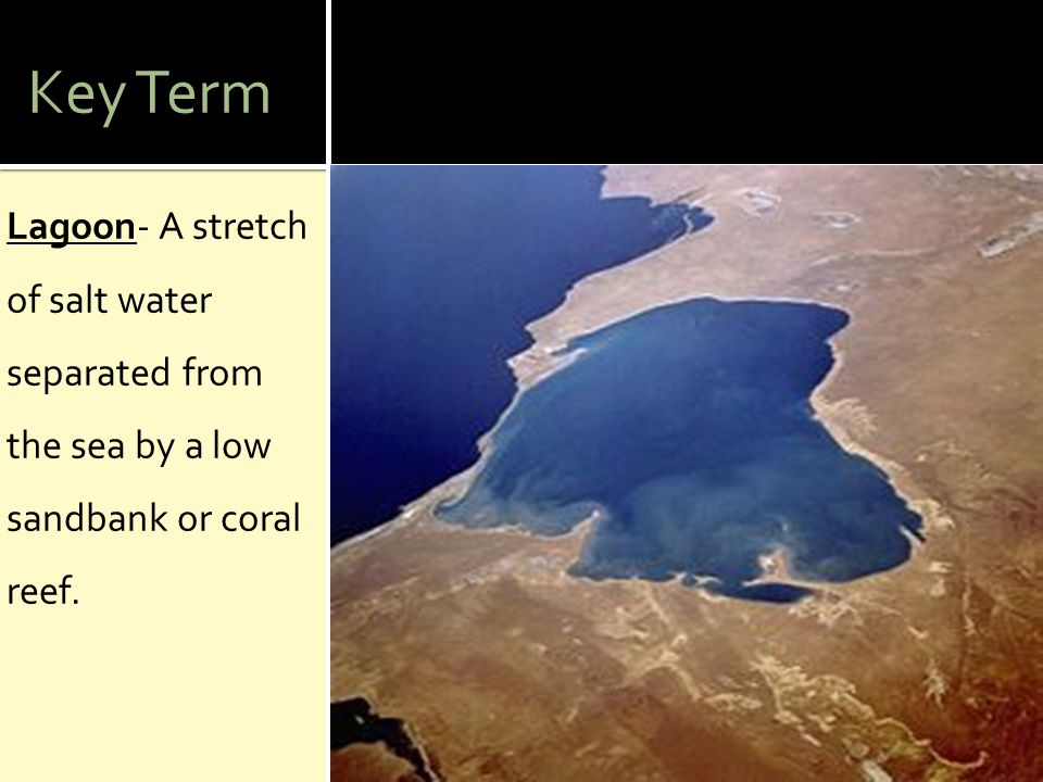 Key Term Lagoon- A stretch of salt water separated from the sea by a low sandbank or coral reef.