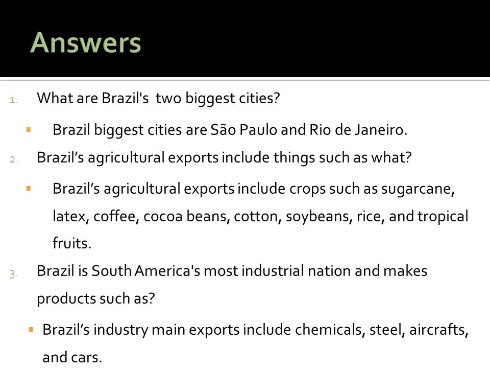 Answers What are Brazil s two biggest cities