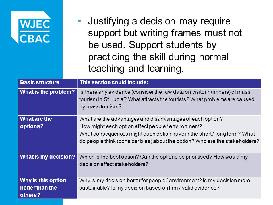Justifying a decision may require support but writing frames must not be used. Support students by practicing the skill during normal teaching and learning.