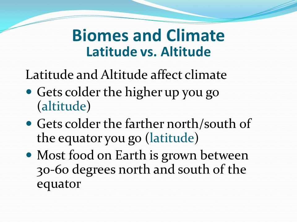 Biomes and Climate Latitude vs. Altitude