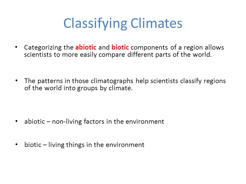 Classifying Climates
