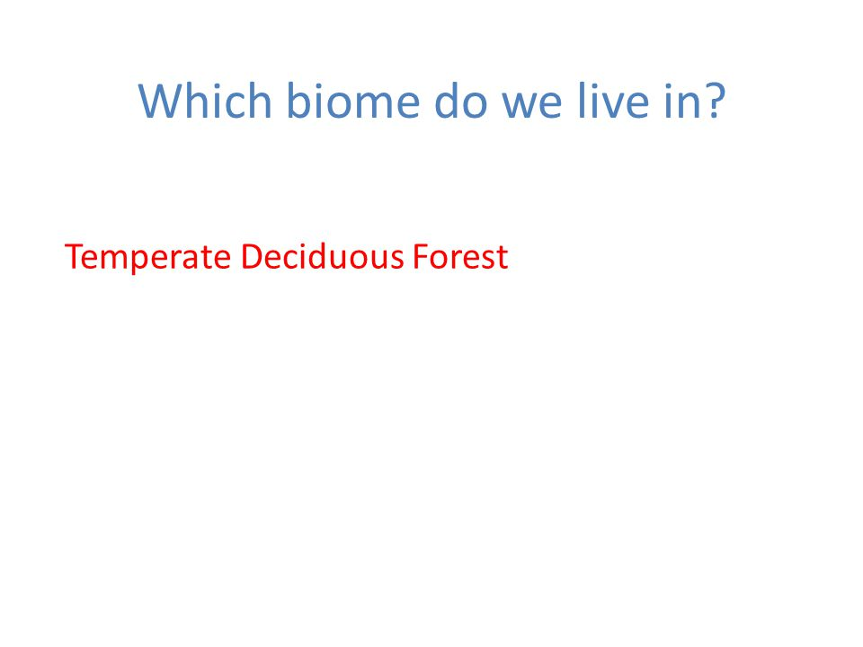Which biome do we live in