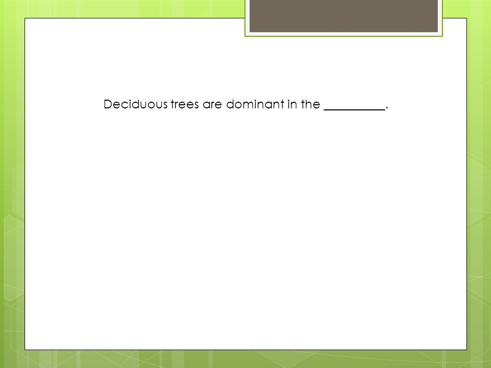 Deciduous trees are dominant in the __________.