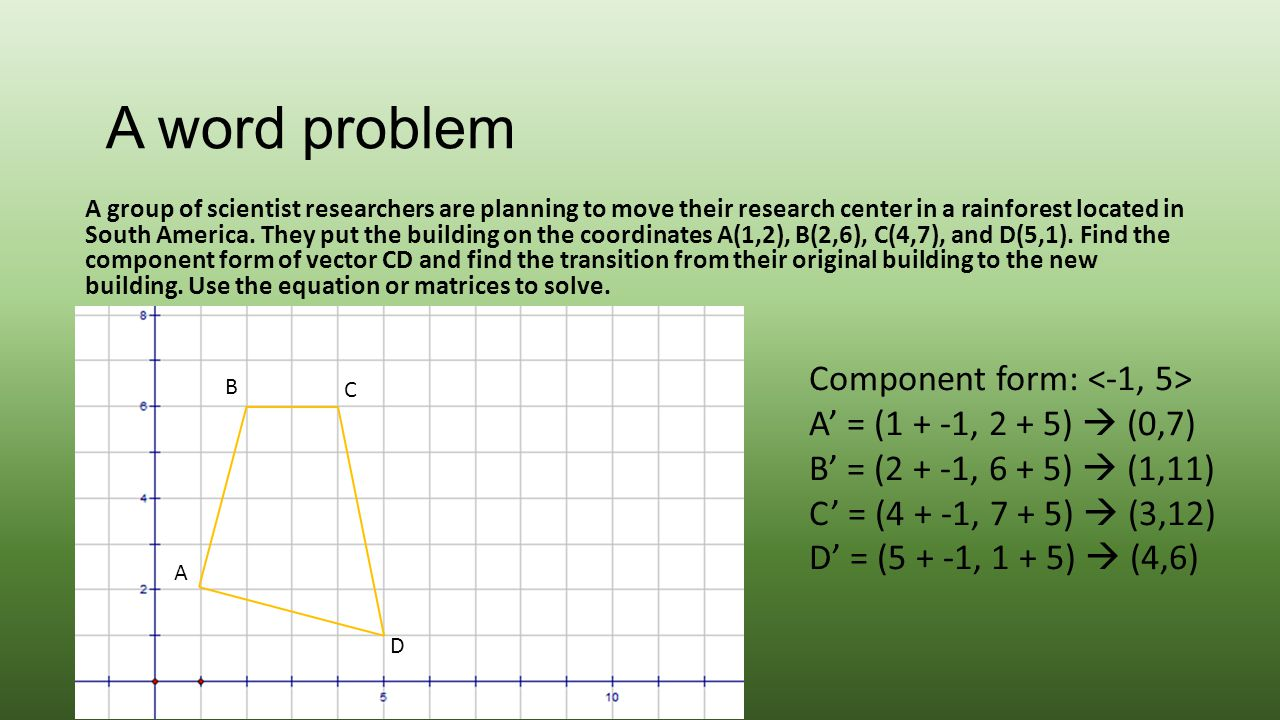 A word problem Component form: <-1, 5>