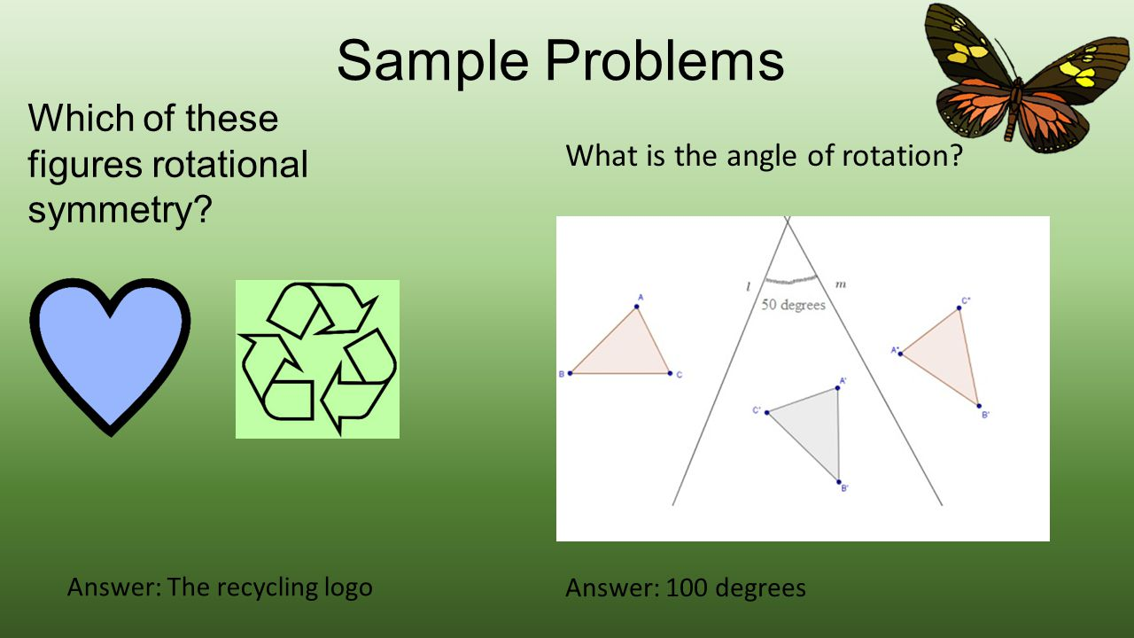 Sample Problems Which of these figures rotational symmetry