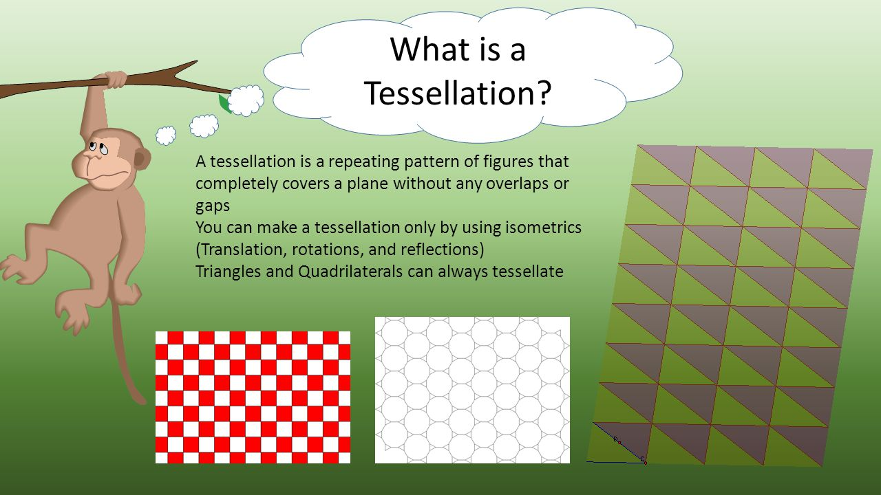 What is a Tessellation A tessellation is a repeating pattern of figures that completely covers a plane without any overlaps or gaps.