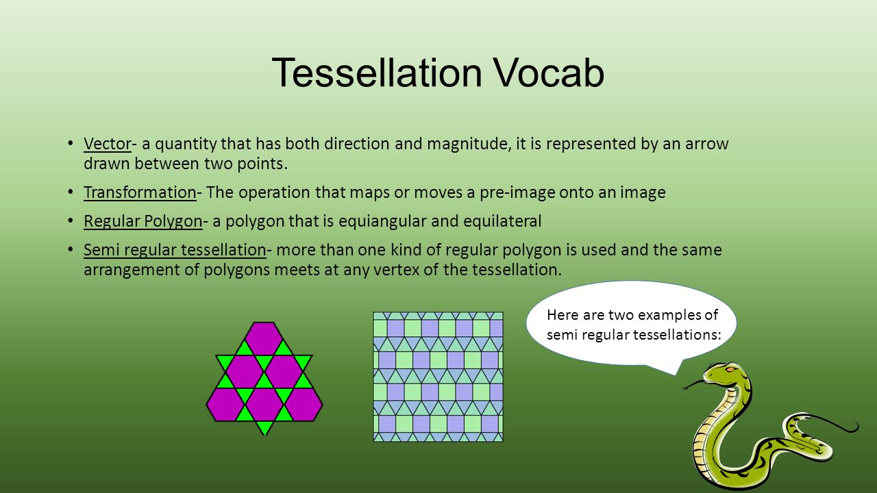Tessellation Vocab Vector- a quantity that has both direction and magnitude, it is represented by an arrow drawn between two points.