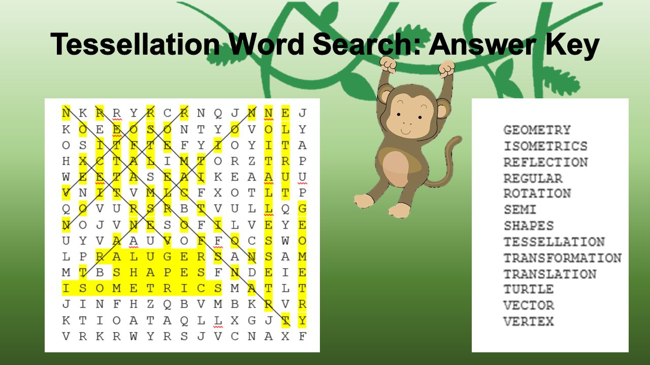Tessellation Word Search: Answer Key