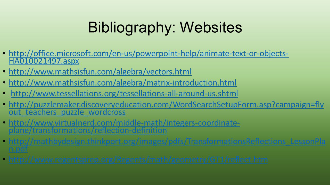 Bibliography: Websites