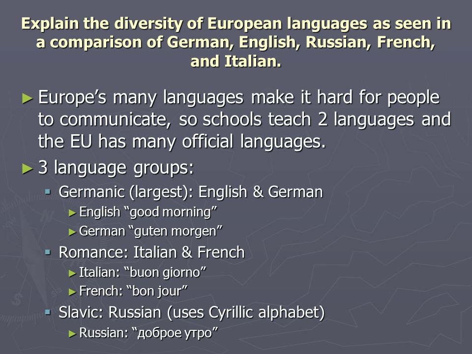 Explain the diversity of European languages as seen in a comparison of German, English, Russian, French, and Italian.