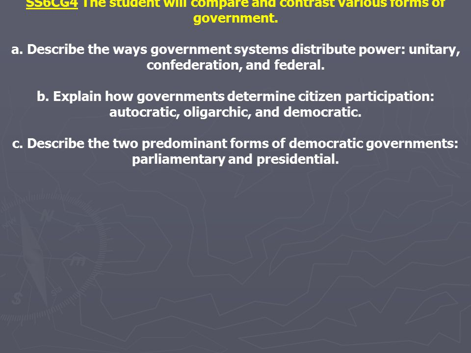 SS6CG4 The student will compare and contrast various forms of government.