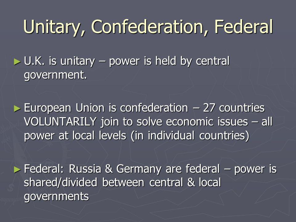 Unitary, Confederation, Federal