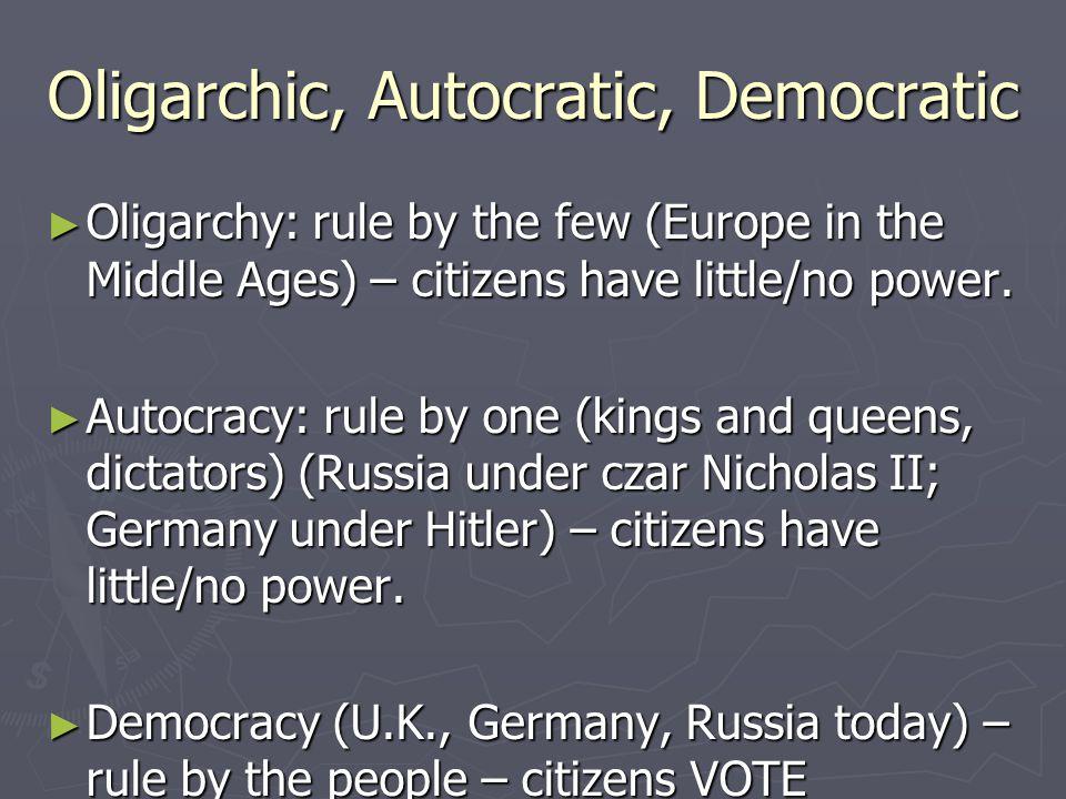 Oligarchic, Autocratic, Democratic