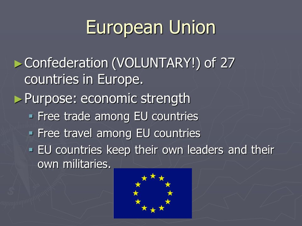 European Union Confederation (VOLUNTARY!) of 27 countries in Europe.
