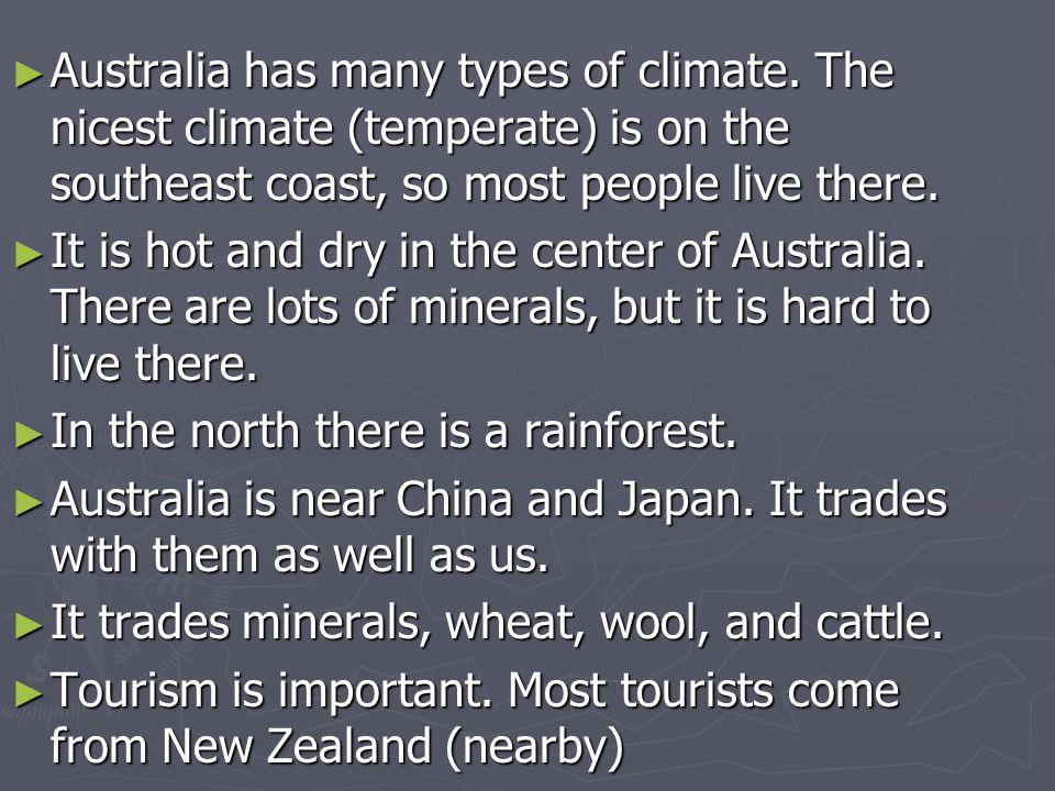 Australia has many types of climate