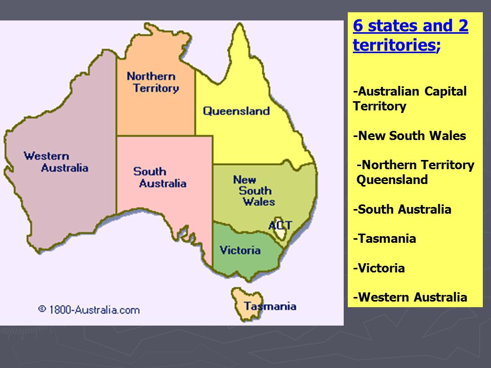 6 states and 2 territories;