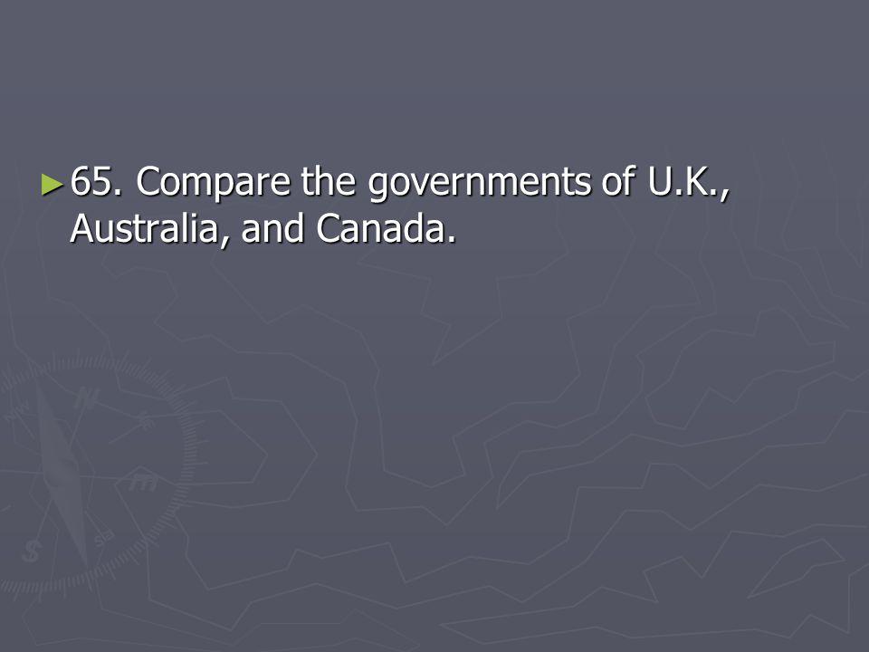 65. Compare the governments of U.K., Australia, and Canada.