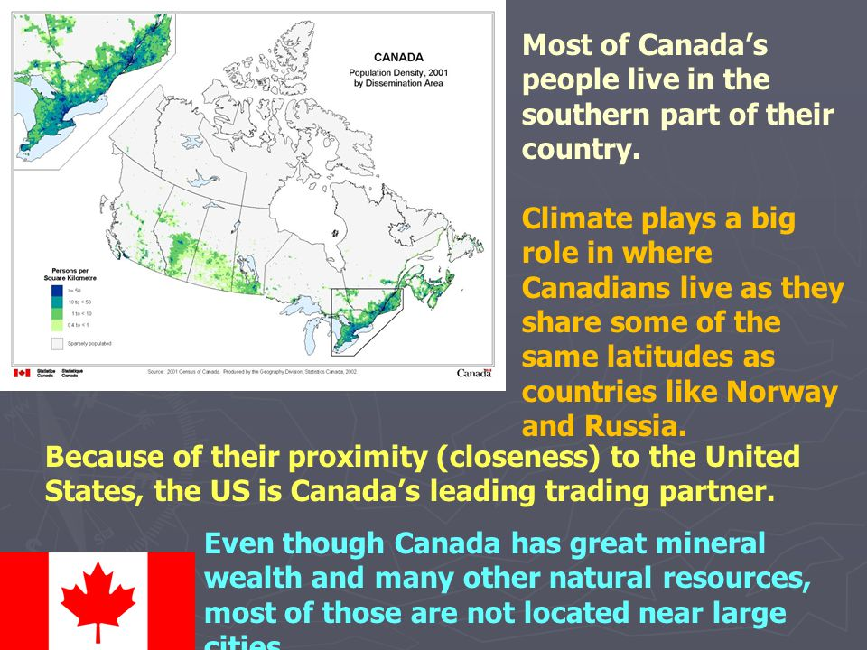 Most of Canada's people live in the southern part of their country.