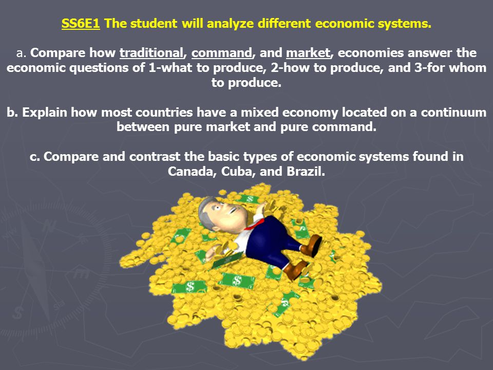 SS6E1 The student will analyze different economic systems.