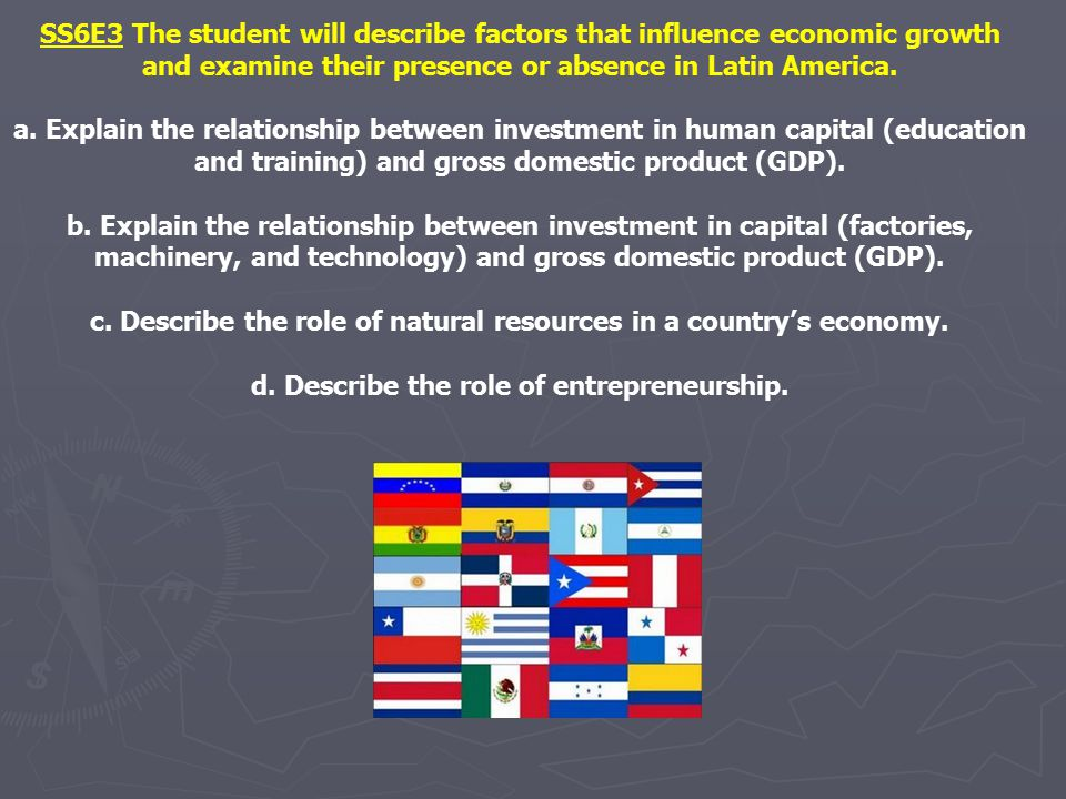 c. Describe the role of natural resources in a country's economy.
