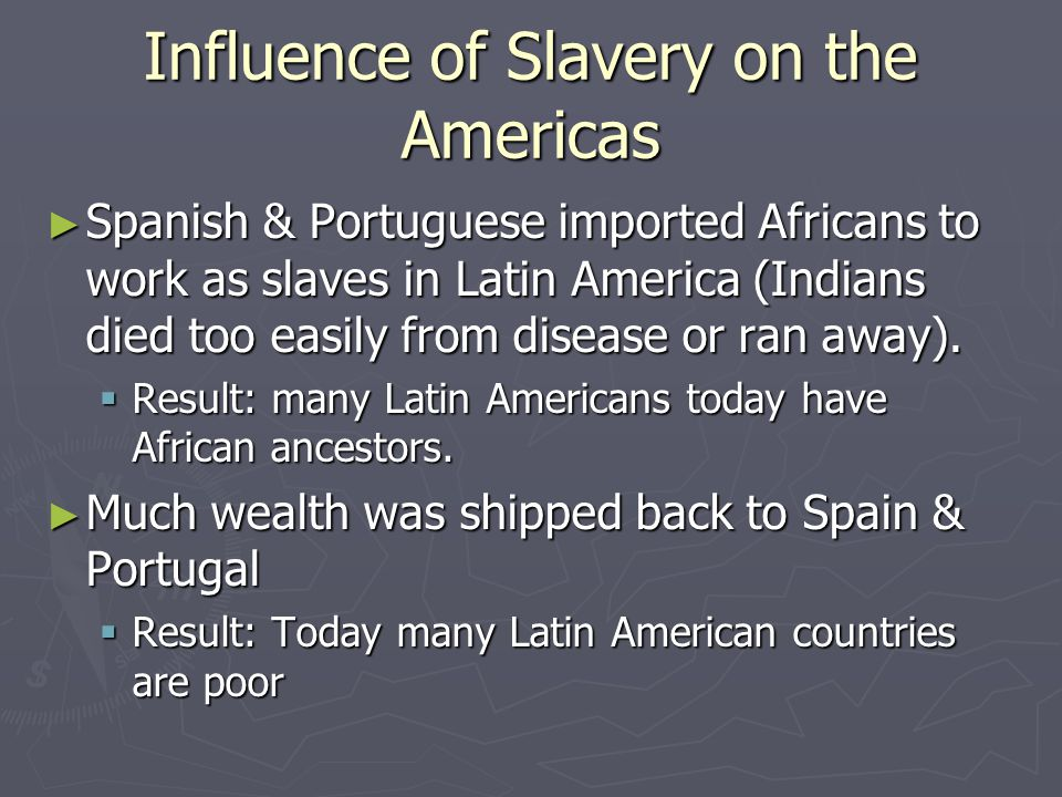 Influence of Slavery on the Americas