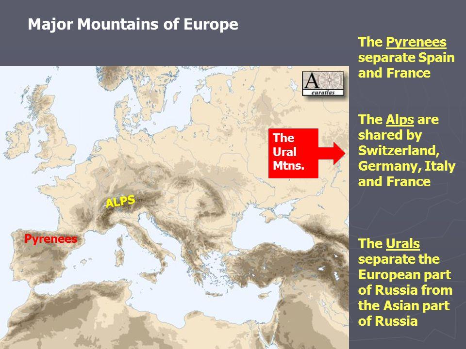 Major Mountains of Europe