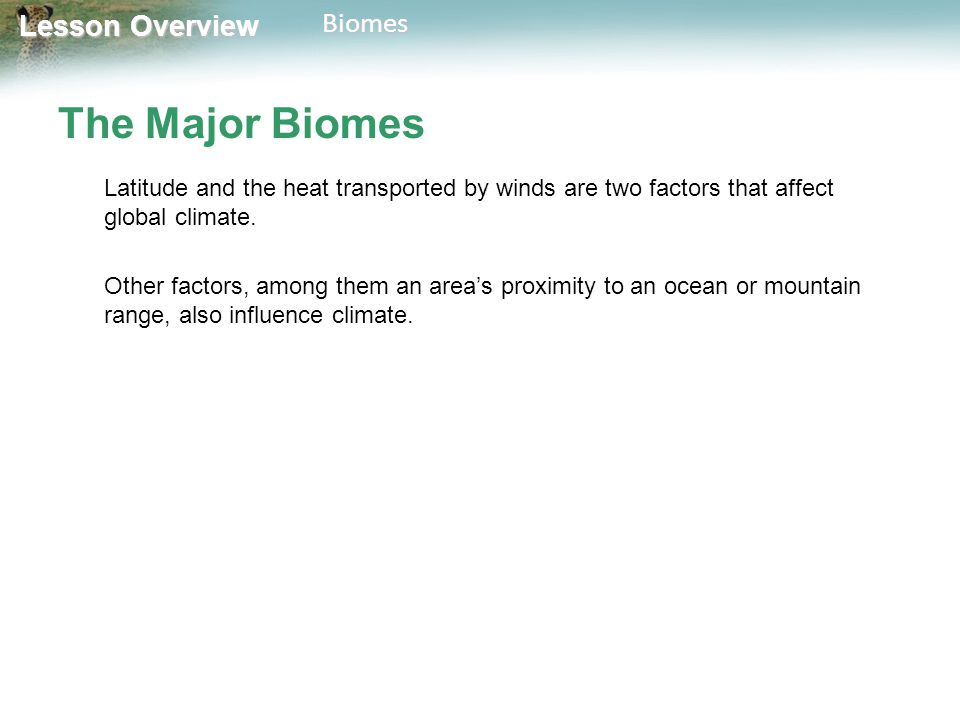 The Major Biomes Latitude and the heat transported by winds are two factors that affect global climate.