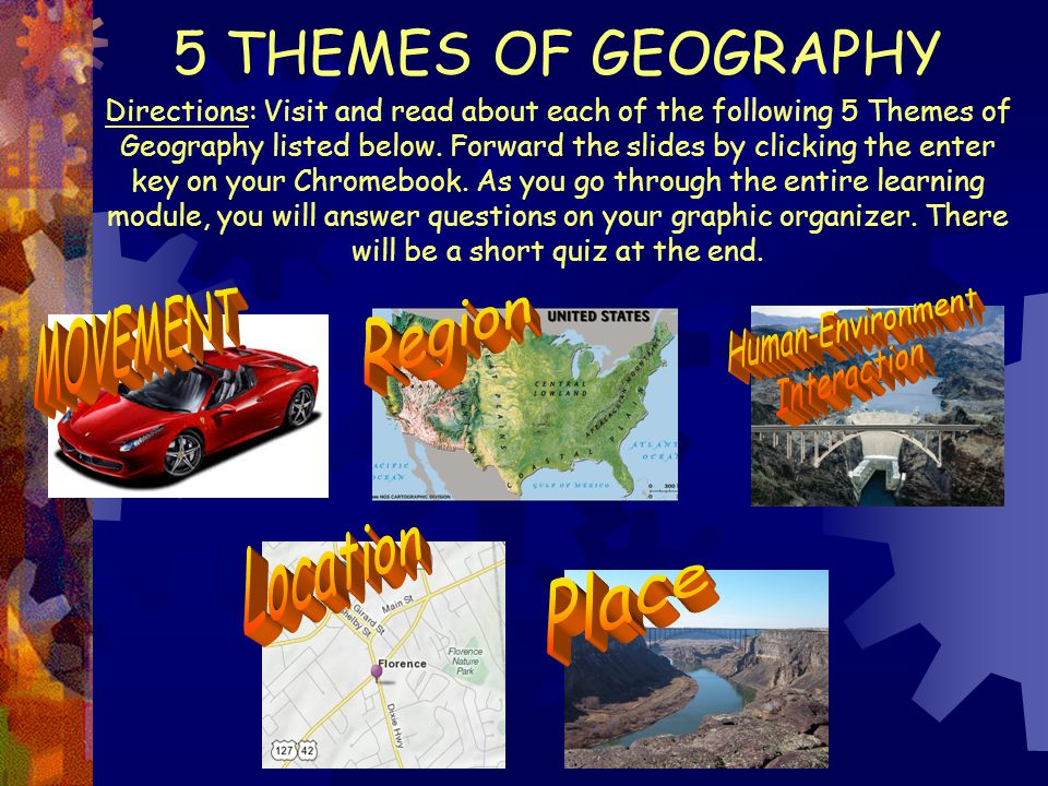 5 THEMES OF GEOGRAPHY MOVEMENT Region Human-Environment Interaction