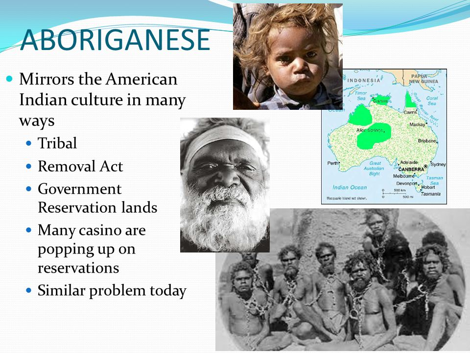 ABORIGANESE Mirrors the American Indian culture in many ways Tribal