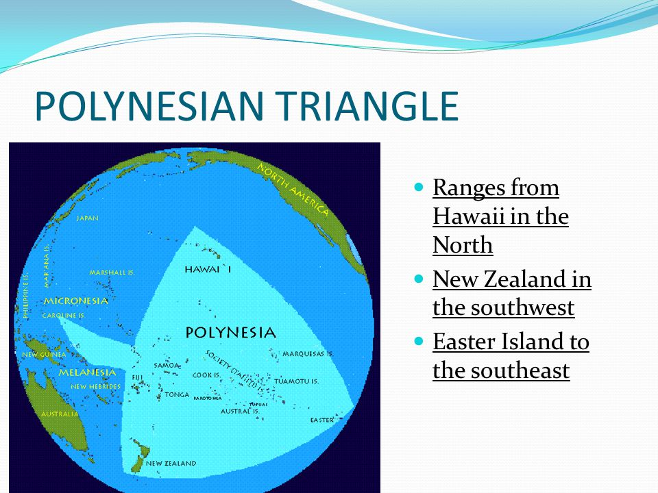 POLYNESIAN TRIANGLE Ranges from Hawaii in the North