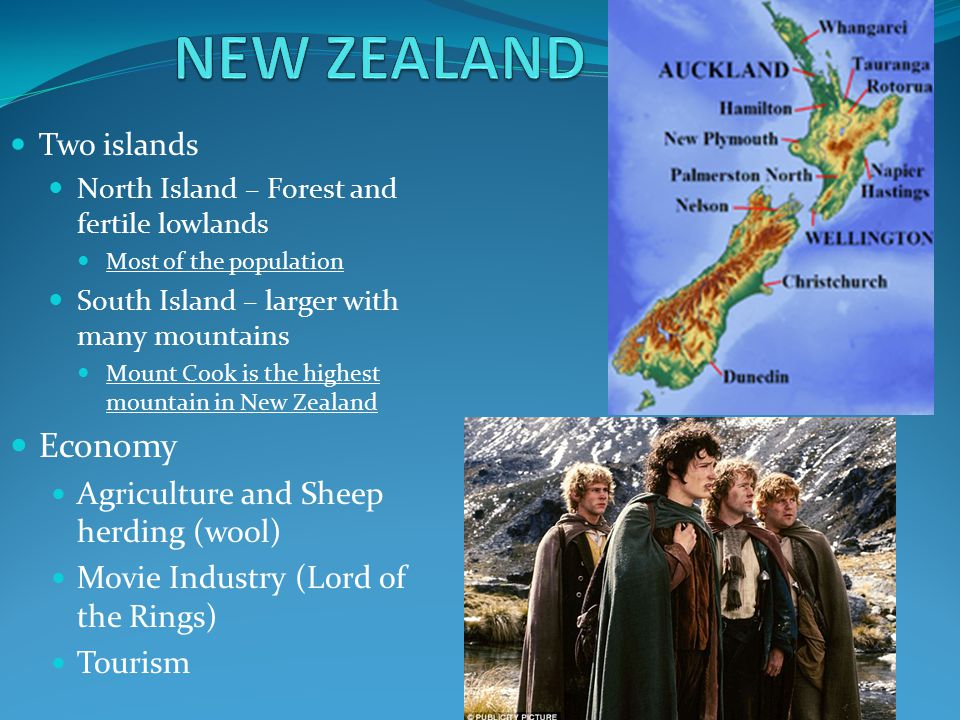 NEW ZEALAND Economy Two islands Agriculture and Sheep herding (wool)