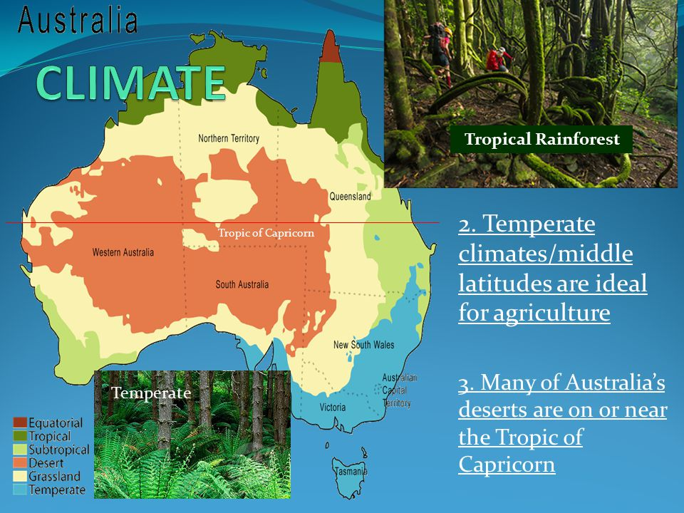 CLIMATE Tropical Rainforest. 2. Temperate climates/middle latitudes are ideal for agriculture.