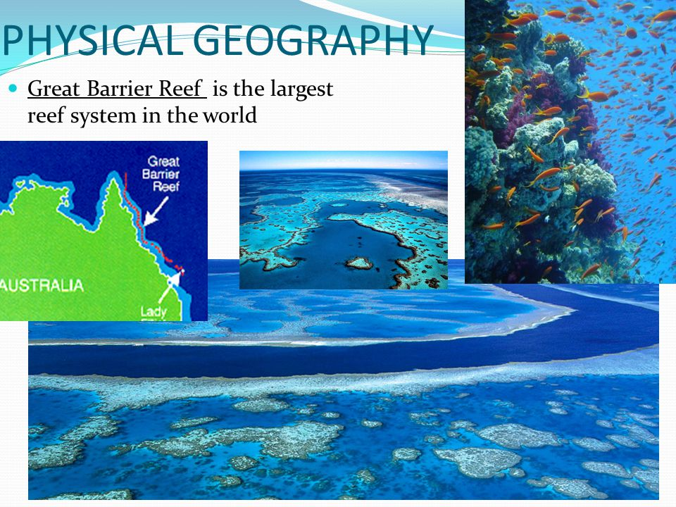 PHYSICAL GEOGRAPHY Great Barrier Reef is the largest reef system in the world