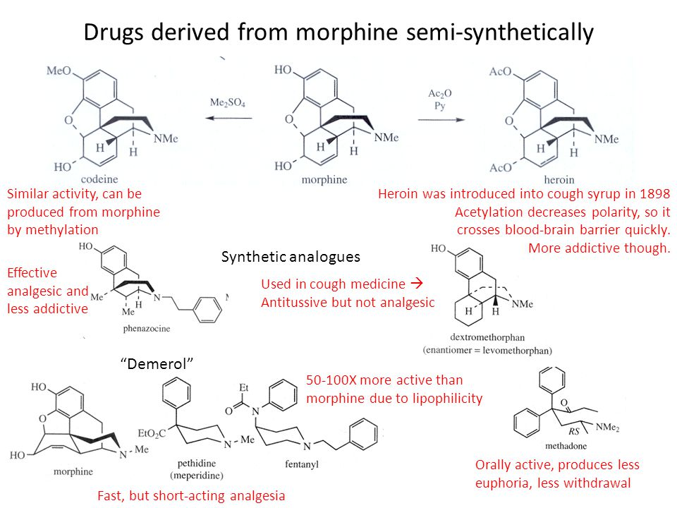 Drugs derived from morphine semi-synthetically