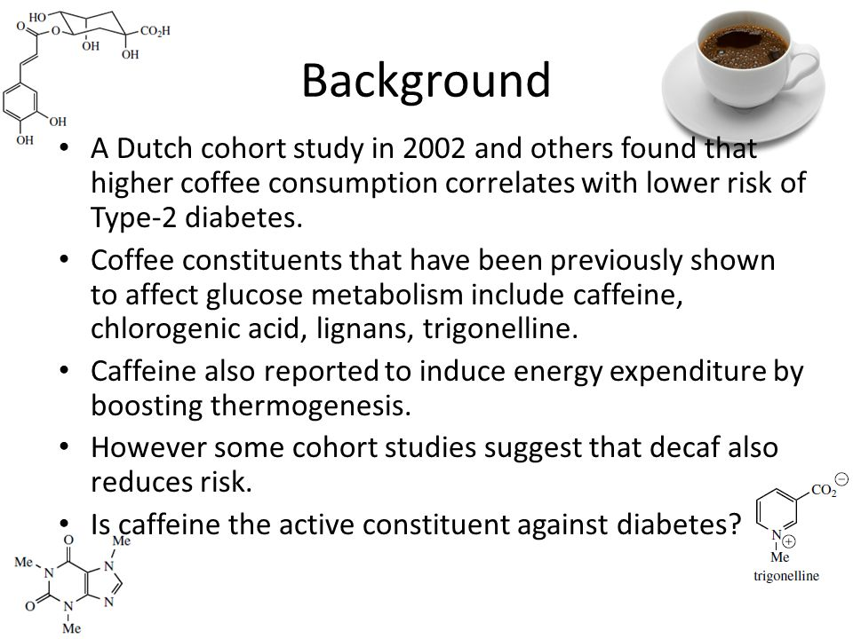 Background A Dutch cohort study in 2002 and others found that higher coffee consumption correlates with lower risk of Type-2 diabetes.
