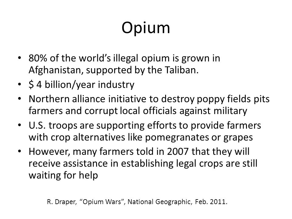 Opium 80% of the world's illegal opium is grown in Afghanistan, supported by the Taliban. $ 4 billion/year industry.