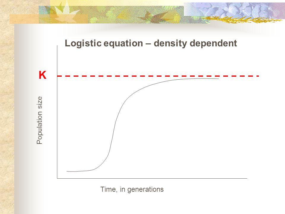 K Logistic equation – density dependent Population size